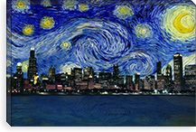 Chicago, Illinois Starry Night Skyline #SKY103