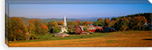 Church and a barn in a field, Peacham, Vermont, USA #PIM6019