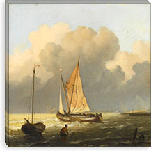 Coastal Scene with a Tjalk By Ludolf Backhuyzen Canvas Print #14124