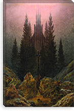 Cross and Church in the Mountains By Caspar David Friedrich Canvas Print #15250