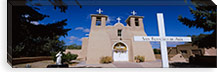 Cross in front of a church, San Francisco de Asis Church, Ranchos De Taos, New Mexico, USA #PIM5248