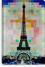 Eiffel Tower Navy Pallet Slate Canvas Print #UVP1b