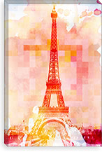 Eiffel Tower Rose Pallet Slate Canvas Print #UVP1