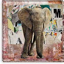 Elephant Torn Posters By Luz Graphics Canvas Print #LUZ56