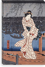 Evening on the Sumida River By Utagawa Hiroshige l Canvas Print #13606