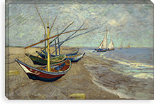 Fishing Boats on the Beach at les Saintes Maries de la Mer By Vincent van Gogh Canvas Print #14338