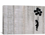 Flying Balloons Girl By Banksy Canvas Print #2089
