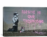 Forgive Us Our Tresspassing By Banksy Canvas Print #2154