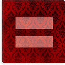Gay Equality Sign, Equal Rights Symbol Burgundy Canvas Print #FLG90