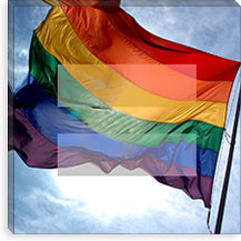 Gay Equality Sign, Equal Rights Symbol with Gay Rainbow Flag Canvas Print #FLG92