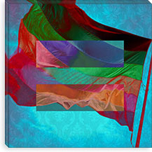 Gay Equality Sign, Equal Rights Symbol with Rainbow Flag Teal Canvas Print #FLG93