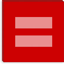 Gay Red Equality Sign, Equal Rights Symbol Canvas Print #FLG104
