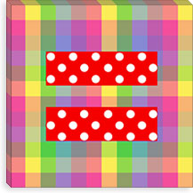 Gay Red Equality Sign, Equal Rights Symbol, Colorful Canvas Print #FLG97