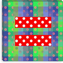 Gay Red Equality Sign, Equal Rights Symbol, Green Polka Dots Canvas Print #FLG98