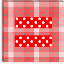 Gay Red Equality Sign, Equal Rights Symbol, Pink Polka Dots Canvas Print #FLG99