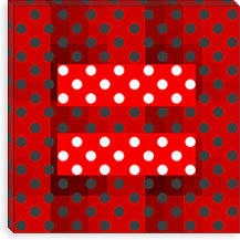 Gay Red Equality Sign, Equal Rights Symbol, Polka Dots Canvas Print #FLG100