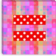 Gay Red Equality Sign, Equal Rights Symbol, Purple Polka Dots Canvas Print #FLG101
