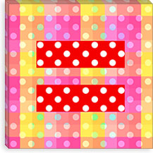 Gay Red Equality Sign, Equal Rights Symbol, Yellow Polka Dots Canvas Print #FLG103