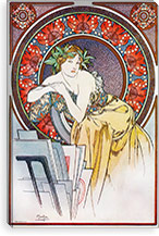 Girl With Easel, 1898 By Alphonse Mucha Canvas Print #15200