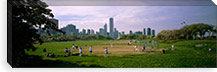 Group of people playing baseball in a park, Grant Park, Chicago, Cook County, Illinois, USA #PIM6542
