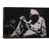 Hooded Man With Knife By Banksy Canvas Print #2047