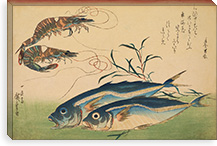 Horse Mackerel (Aji) with Shrimp of Prawn, with Inscription By Utagawa Hiroshige l Canvas Print #13607