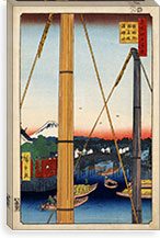Inari Bridge and Minato Shrine, Teppozu By Utagawa Hiroshige l Canvas Print #13653
