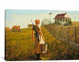 Little House On The Prairie Fenced By Banksy Canvas Print #2107