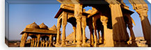 Low angle view of monuments at a place of burial, Jaisalmer, Rajasthan, India #PIM5477
