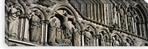 Low angle view of statues carved on wall of a cathedral, Trondheim, Norway #PIM4224