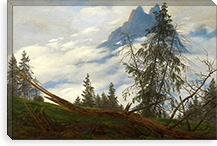 Mountain Peak with Drifting Clouds By Caspar David Friedrich Canvas Print #15029