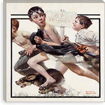 No Swimming By Norman Rockwell Canvas Print #13438