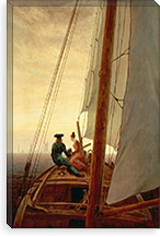 On a Sailing Ship By Caspar David Friedrich Canvas Print #15093