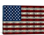 One Hundred Dollar Bill, American Flag Canvas Print #FLG534