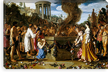Orestes and Pylades Disputing at the Altar By Pieter Lastman Canvas Print #14113