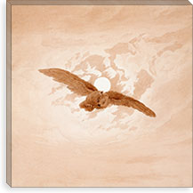 Owl Flying Against a Moonlit Sky By Caspar David Friedrich Canvas Print #15040