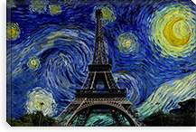 Paris, France Starry Night Skyline #SKY118