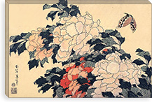 Peonies and Butterfly By Katsushika Hokusai Canvas Print #13701