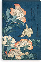 Peonies and Canary By Katsushika Hokusai Canvas Print #13692
