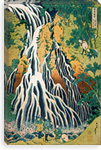 Pilgrims at Kirifuri Waterfall on Mount Kurokami in Shimotsuke Province By Katsushika Hokusai Canvas Print #13691