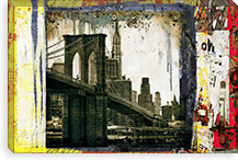 Pont Brooklyn Pancarte (Brooklyn Bridge) By Luz Graphics Canvas Print #LUZ21
