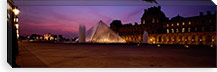 Pyramid lit up at night, Louvre Pyramid, Musee Du Louvre, Paris, Ile-de-France, France #PIM460
