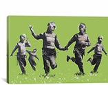 Riot Police in the Field, Peace By Banksy Canvas Print #2028