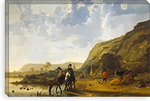 River Landscape with Riders By Aelbert Cuyp Canvas Print #14133