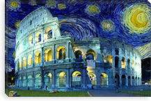 Rome, Italy Colosseum Starry Night Skyline #SKY123