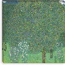 Rosebushes Under the Trees By Gustav Klimt Canvas Print #14041
