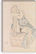Seated Figure with Gathered Up Skirt By Gustav Klimt Canvas Print #14044