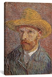 Self Portrait with a Straw Hat 1887 by Vincent van Gogh Canvas Print #1018
