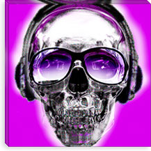 Skull Pink Sun Glasses By Luz Graphics Canvas Print #LUZ17
