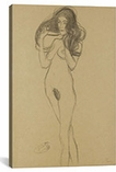 Standing Female Nude Facing Left, Holding Her Hair (Stehender Madchenakt Nach Links, Die Haare Mit Den Handen Haltend) By Gustav Klimt Canvas Print #1115